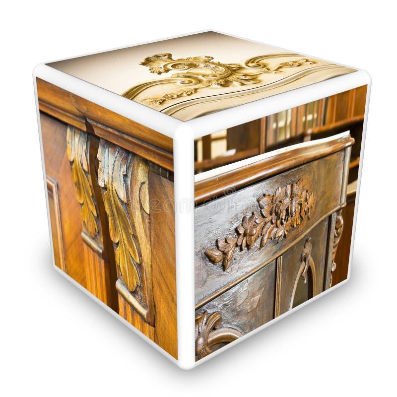 Enkel hersteld detail van antiek Italiaans meubilair - 3D maak kubus gestalte gegeven conceptueel beeld stock illustratie