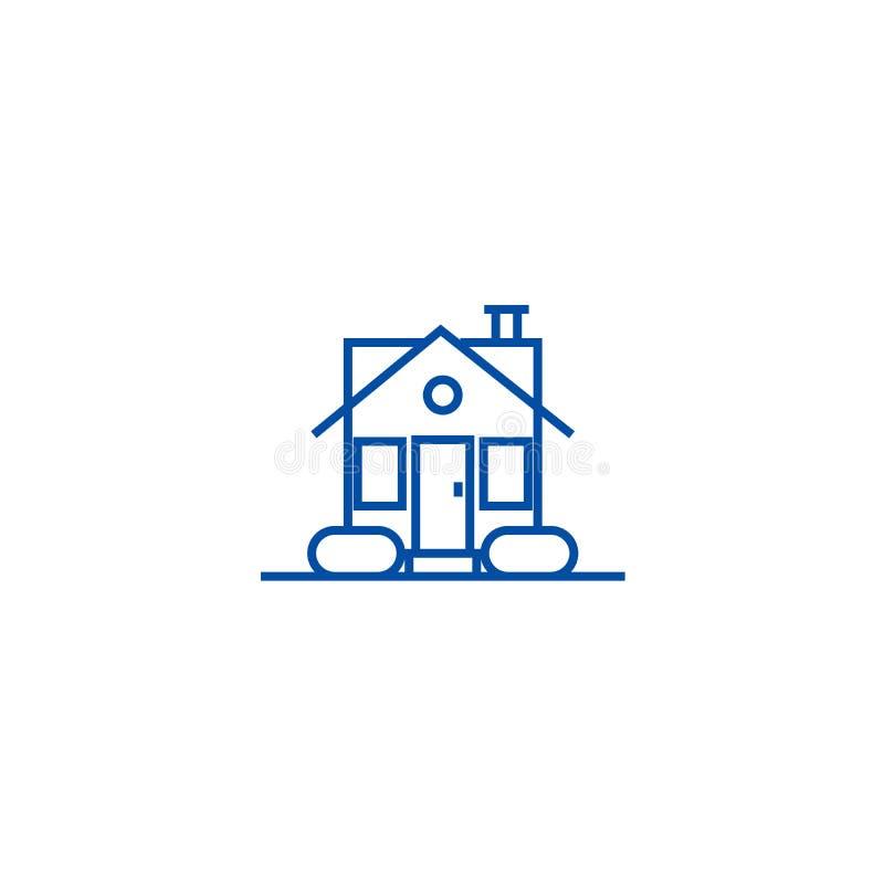 Enkel huslinje symbolsbegrepp Plant vektorsymbol för enkelt hus, tecken, översiktsillustration vektor illustrationer