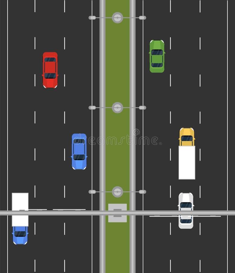 Enkel huvudväg för plan vektor från bästa sikt med färgrika bilar och lastbilar royaltyfri illustrationer