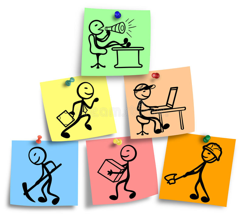 Enkel illustration av det organisatoriska diagrammet för arbete i ett företag royaltyfri illustrationer