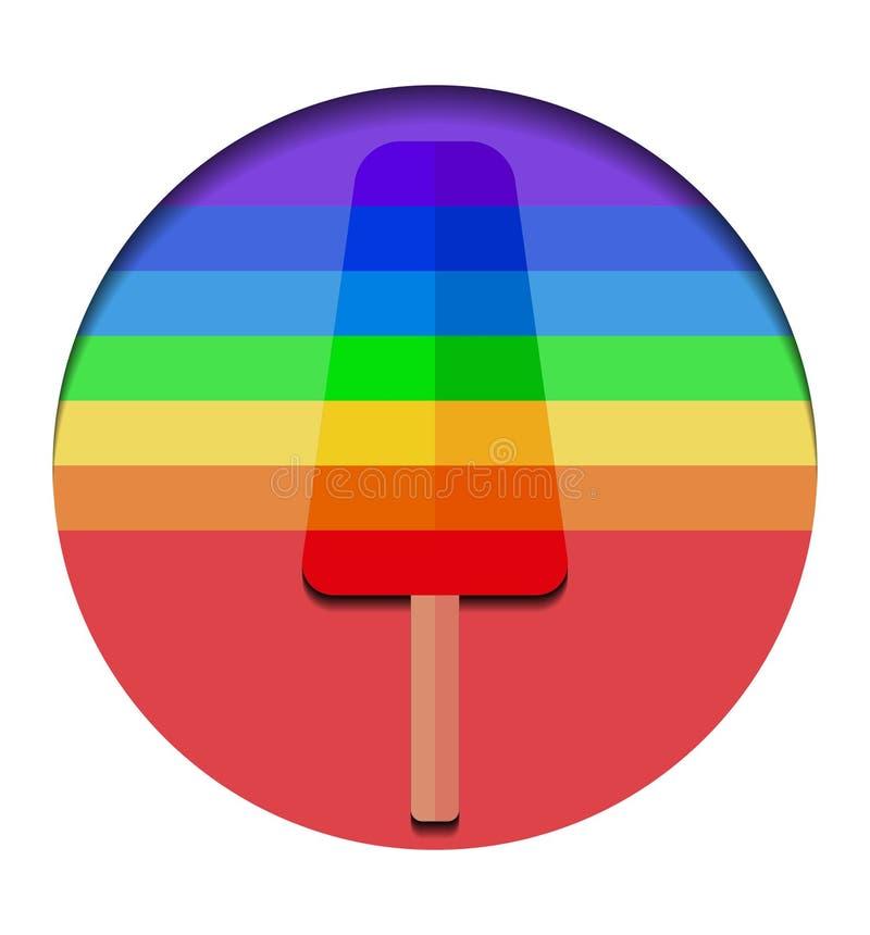 Enkel illustration av regnbågeglass på pinnen i cirkel Is på pinnen stock illustrationer