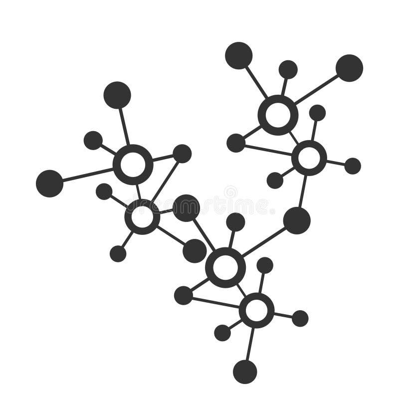 Enkel illustration för anslutning för digitalt nätverk eller molekylär vektorsymbol och logo stock illustrationer