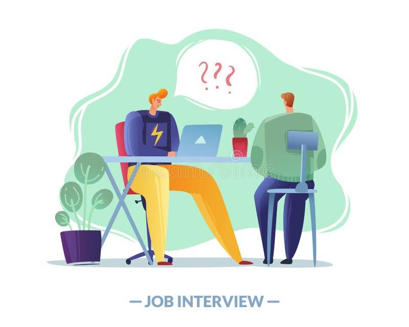Enkel illustration för jobbintervju enkel illustration för jobbintervju arbetsgivaren och sökandet på ett vitt vektor illustrationer
