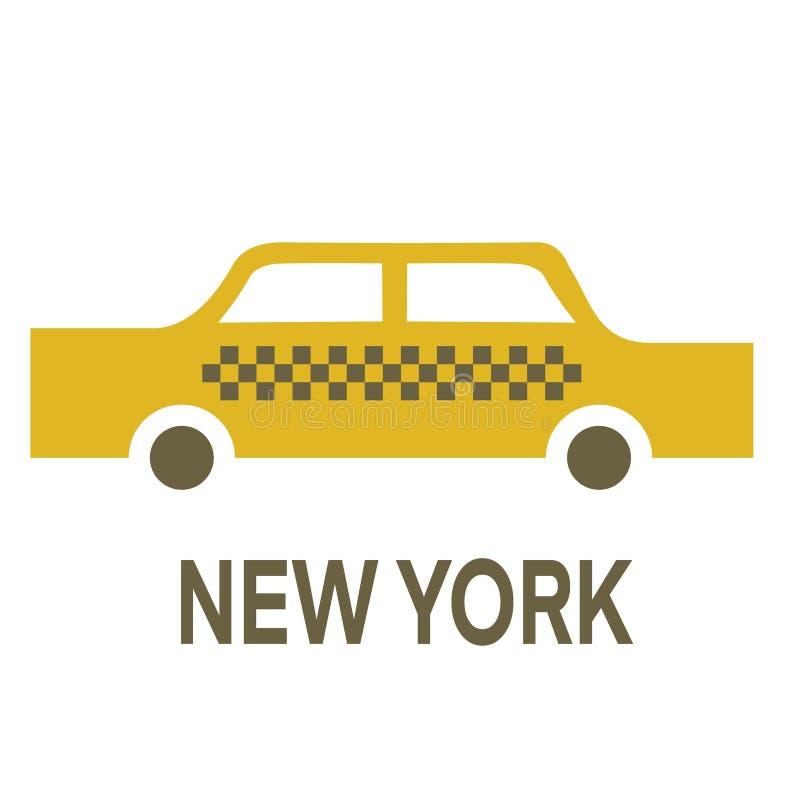 Enkel illustration för New York taxi på vit bakgrund vektor illustrationer