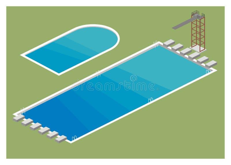 Enkel illustration för simbassäng stock illustrationer