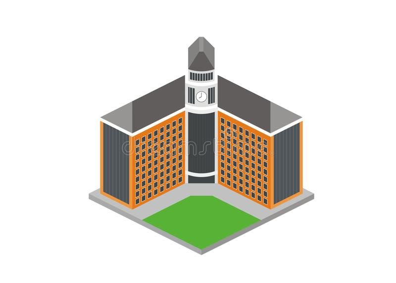 Enkel illustration för skola-/universitethuvudbyggnad vektor illustrationer