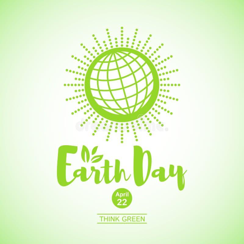 Enkel illustration för världsjorddag, jordklotsymbol royaltyfri illustrationer