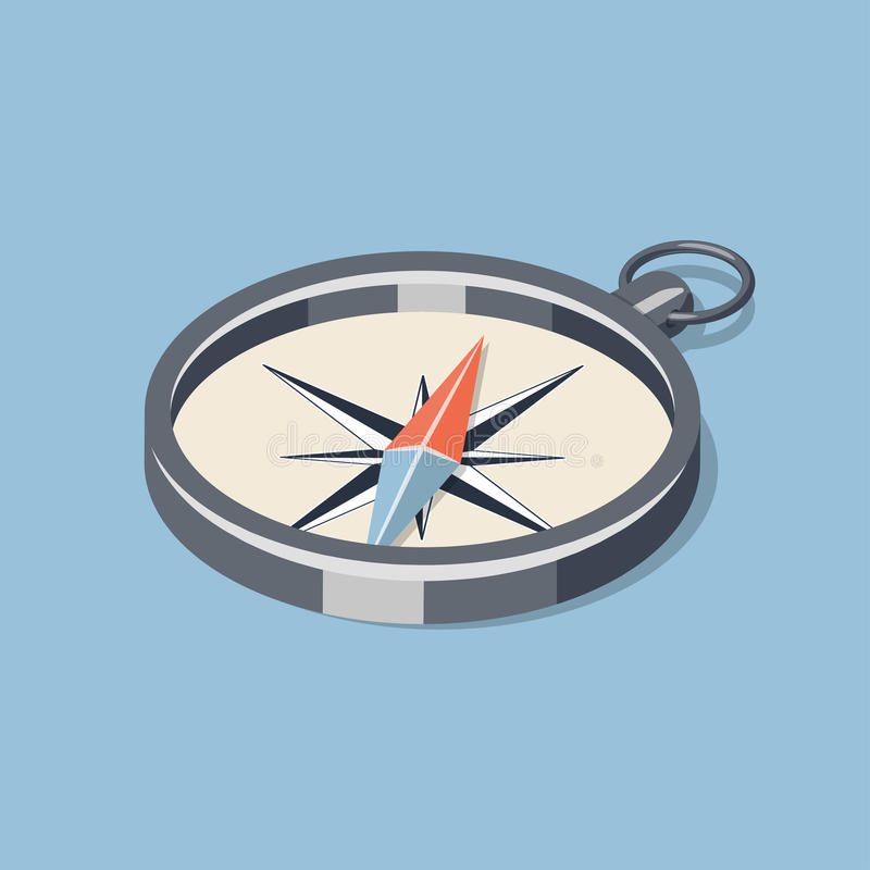 Enkel isometrisk kompass royaltyfri illustrationer