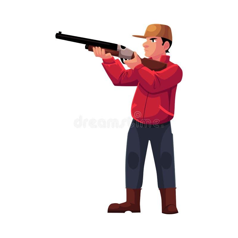 Enkel jägare som siktar på hans mål med ett vapen, gevär stock illustrationer