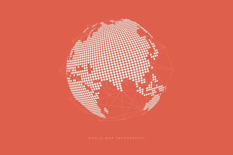 Enkel jordklotform, världskarta som skapas från prickar på orange bakgrund Globalt anslutningsbegrepp vektor illustrationer