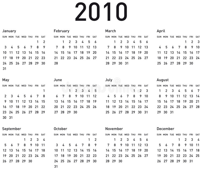 enkel kalender 2010 vektor illustrationer