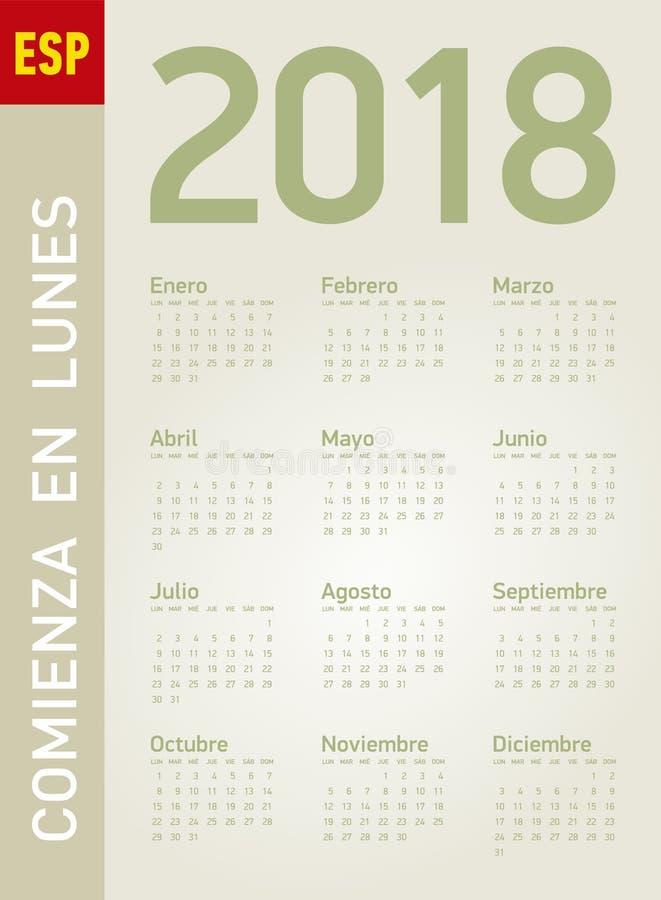 Enkel kalender för året 2018, i vektorer vektor illustrationer