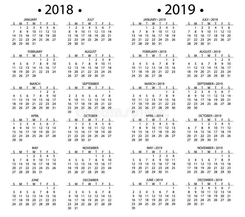 Enkel kalender för 2018 och 2019, 2020 år vektor för stadsplanerare för organisatör för affär för månad för design för malldatumd vektor illustrationer