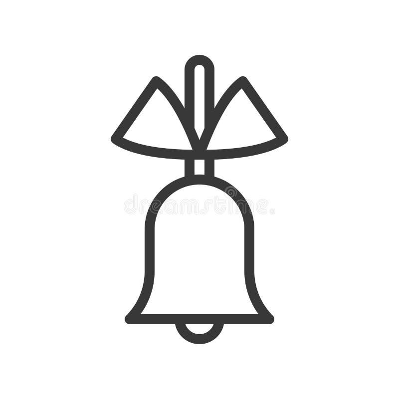 Enkel klocka och pilbåge, temauppsättning för glad jul, redigerbar översikt vektor illustrationer