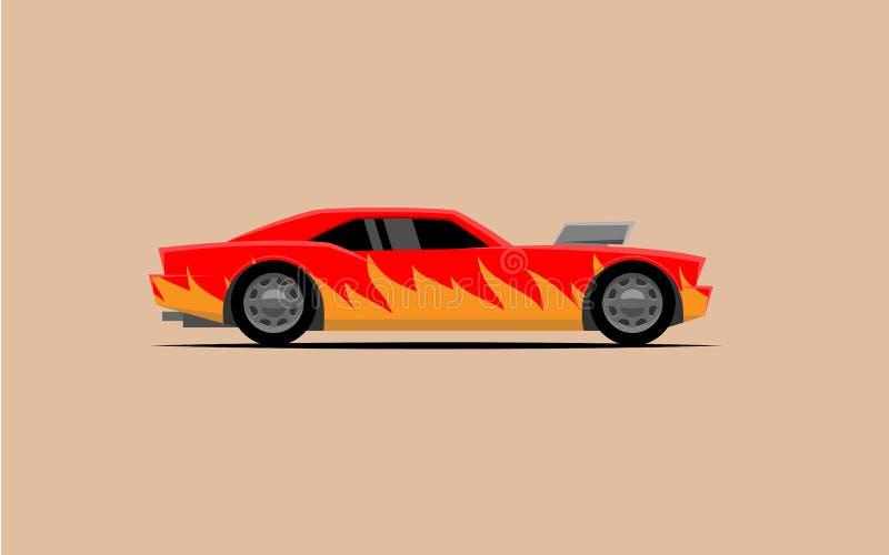 Enkel kraftig bil med en kompressor royaltyfri illustrationer