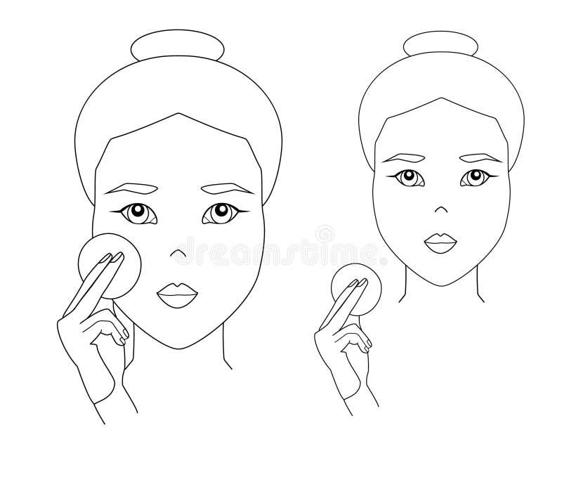 Enkel kvinnaframsida Den asiatiska flickan applicerar ansikts- hudomsorg med bomullsblocket stock illustrationer