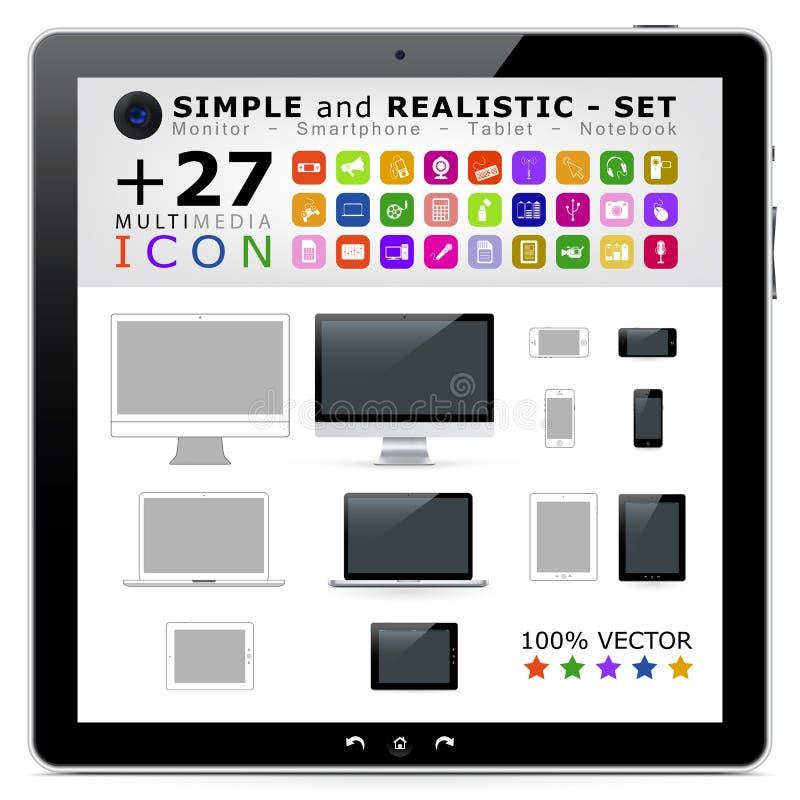 Enkel lägenhet och realistisk bildskärm, bärbar dator, mobiltelefon/Smartp royaltyfri illustrationer