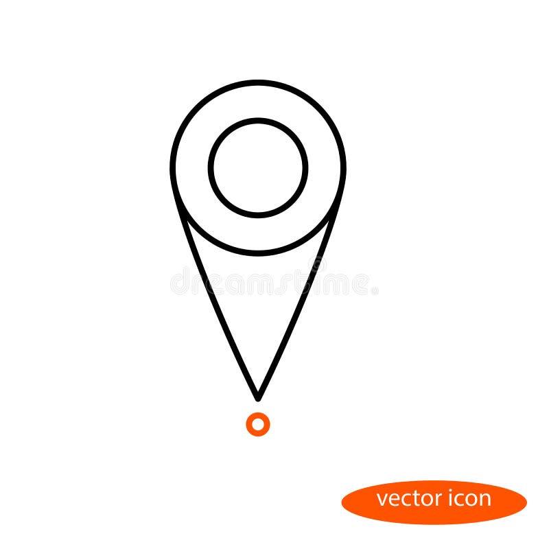 Enkel linjär bild av lägemarkören på översikten, en plan linje symbol stock illustrationer