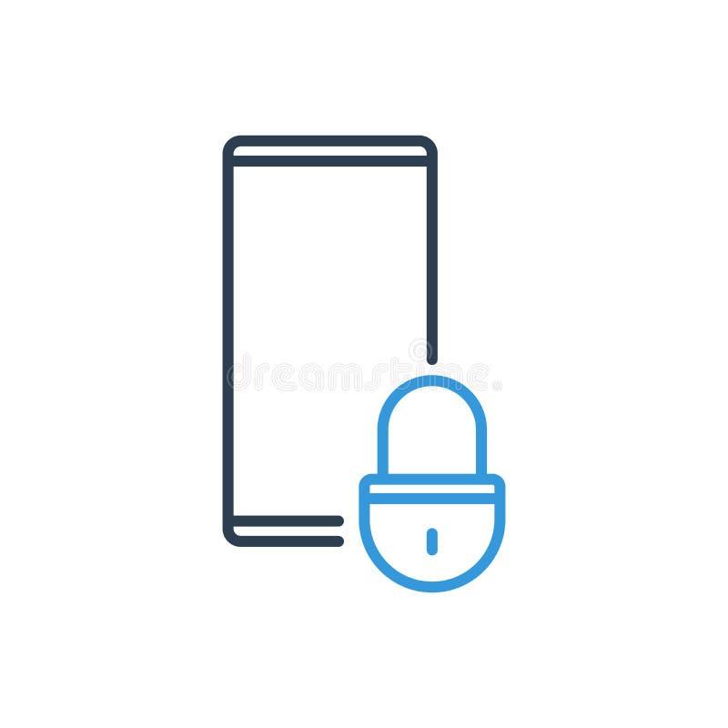 Enkel linje av mobiltelefonvektorsymbolen - säkerhetslåstangent royaltyfri illustrationer