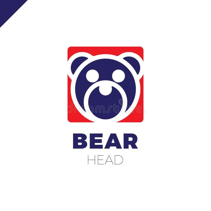 Enkel linje huvudbjörn i fyrkant med rundad design för hörnlogovektor stock illustrationer
