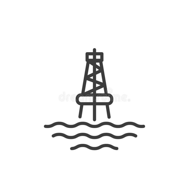 Enkel linje konstöversiktssymbol av den marin- olje- stationen vektor illustrationer
