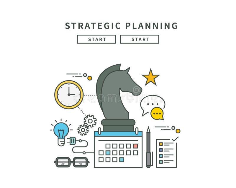 Enkel linje lägenhetdesign av den strategiska planläggningen, modern illustration royaltyfri illustrationer