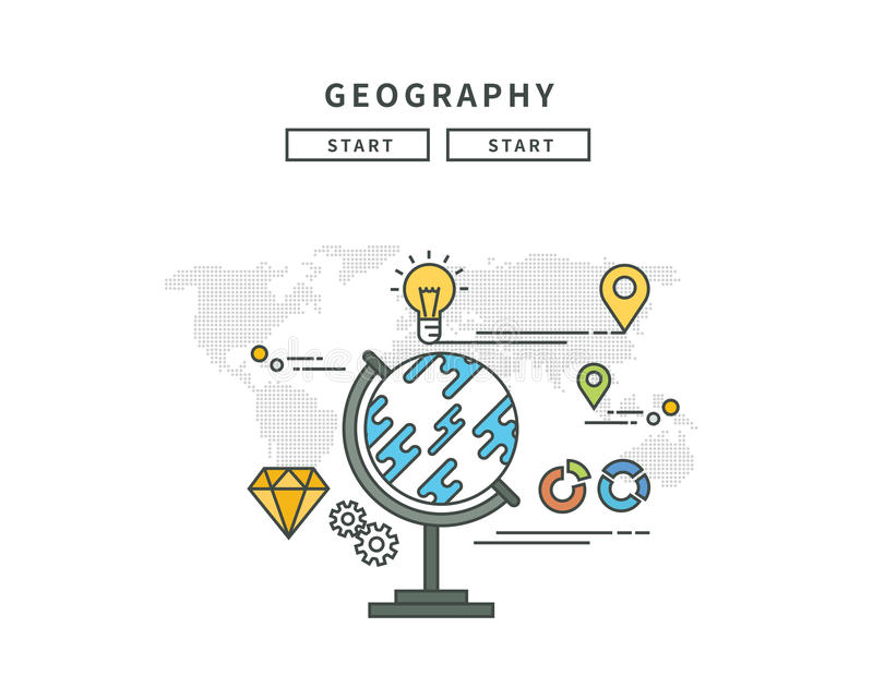 Enkel linje lägenhetdesign av geografi, modern illustration royaltyfri illustrationer