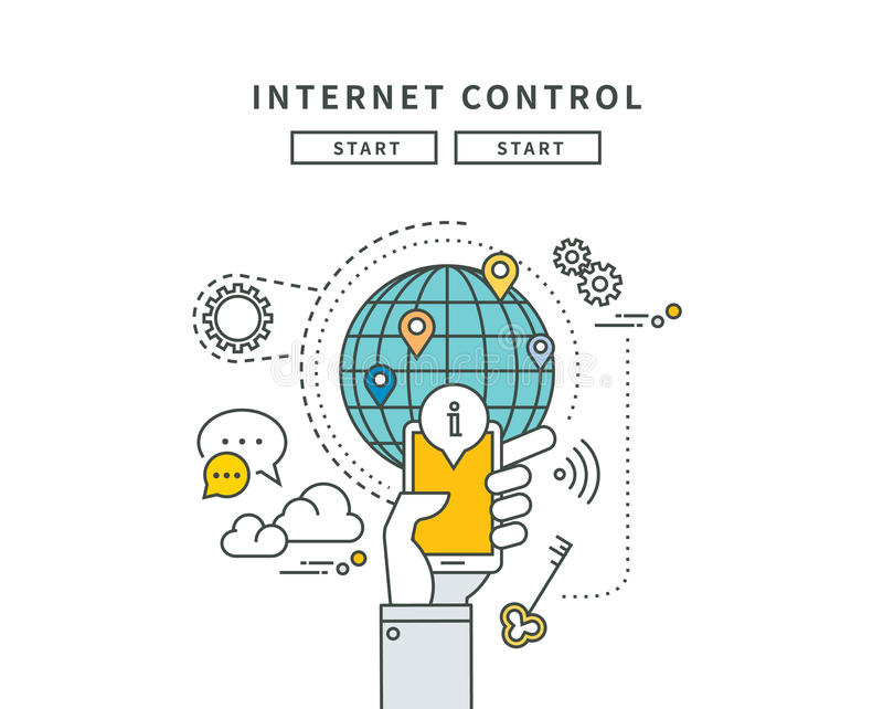 Enkel linje lägenhetdesign av internetkontroll, modern illustration stock illustrationer