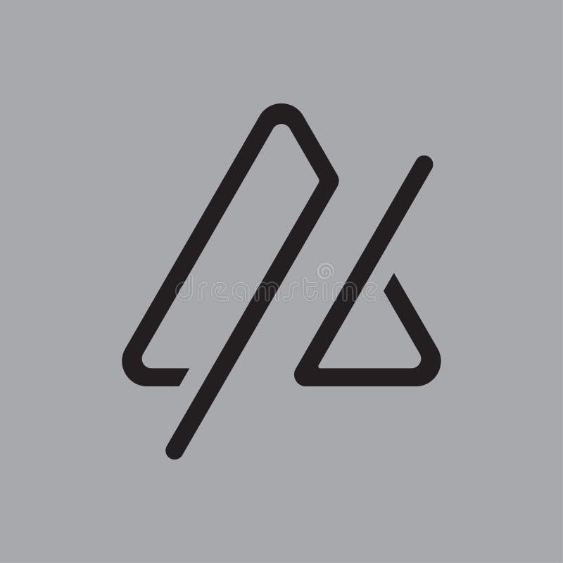 Enkel linje logodesign för triangel arkivbild