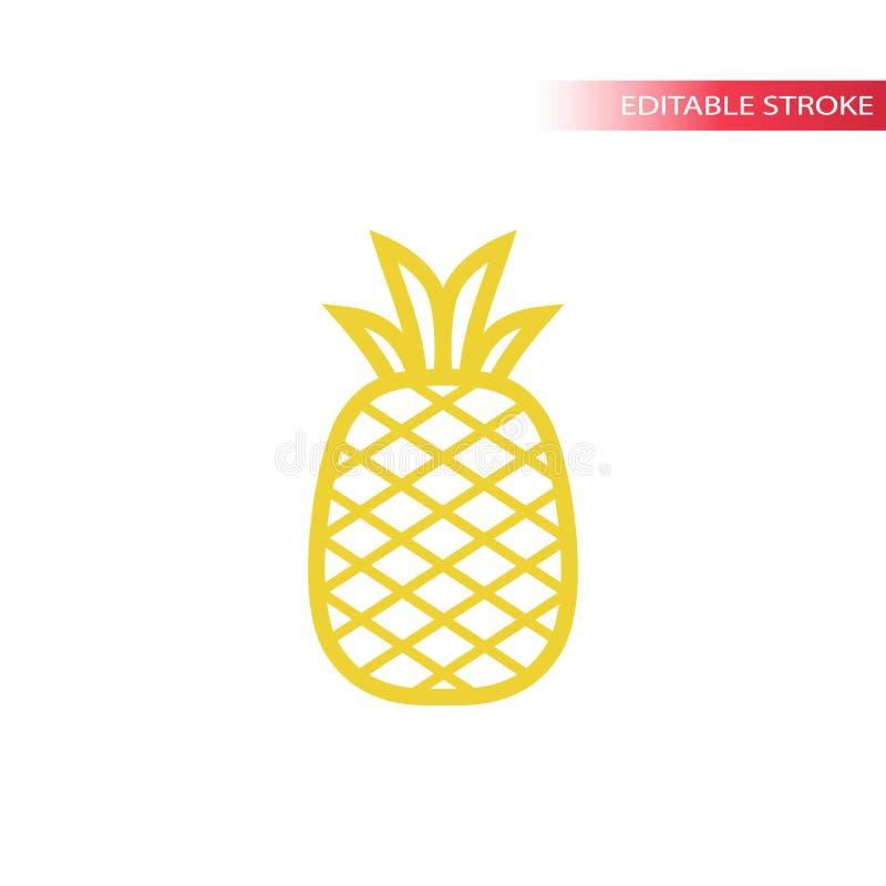 Enkel linje symbol för ananas i färg Symbol för översiktsananasvektor royaltyfri illustrationer
