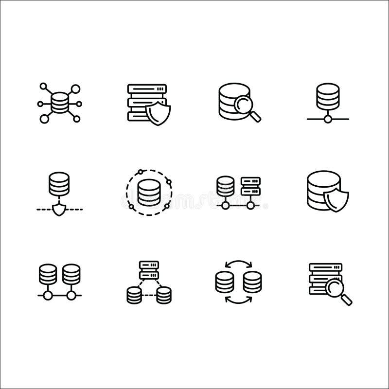 Enkel linje symbol för uppsättningdatabasvektor Innehåller sådan symbolsserverprogramvara, rengöringsduken, internet, överföringe royaltyfri illustrationer