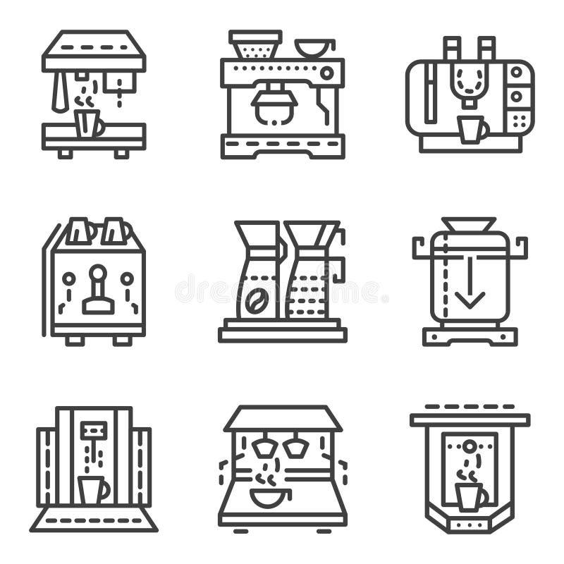 Enkel linje symboler för kaffemaskiner stock illustrationer