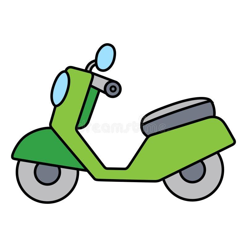 Enkel liten gullig grön motorcykel på vit bakgrund royaltyfri foto
