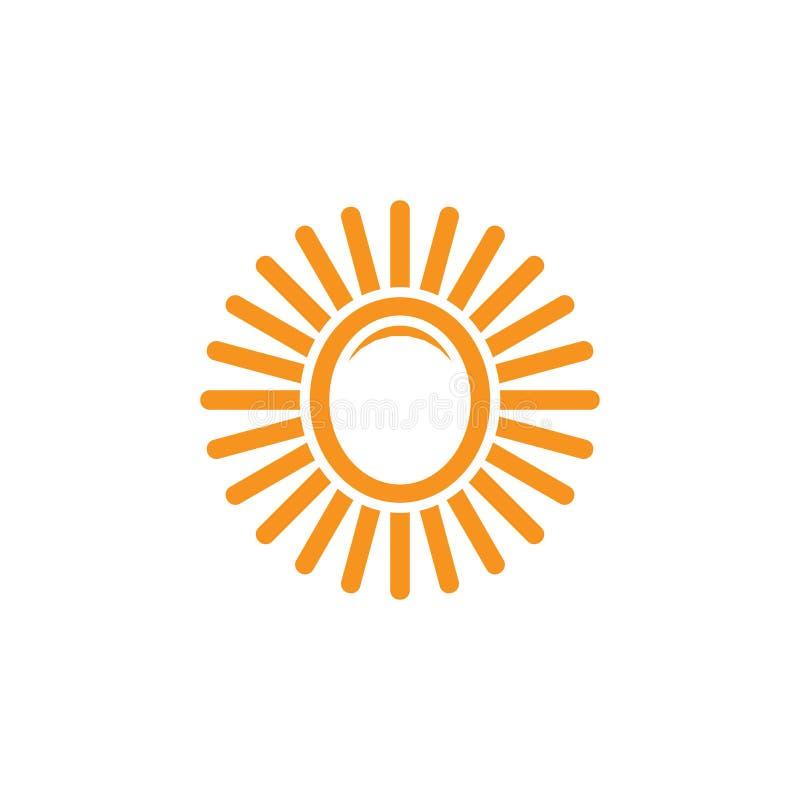 Enkel logo för enkel form för solstrålar oval royaltyfri illustrationer