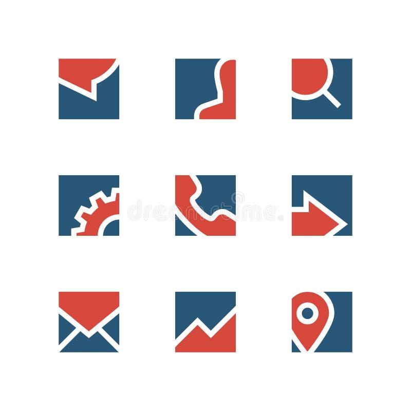 Enkel logouppsättning för affär stock illustrationer