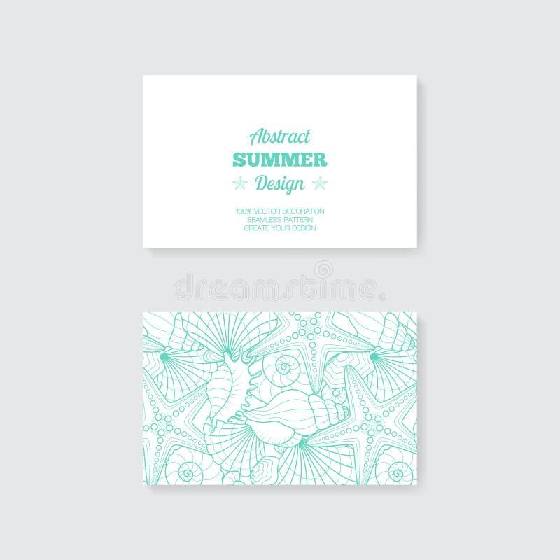 Enkel mall för affärskort med dekorativ orna vektor illustrationer