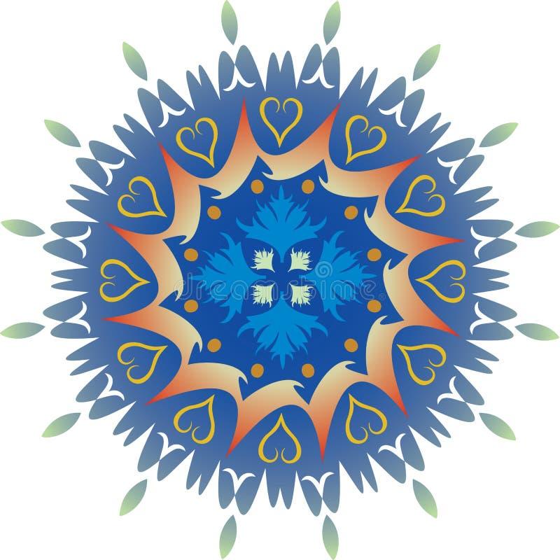 Enkel Mandala - lövverkhjärtor gräsplan och blåttfärger stock illustrationer