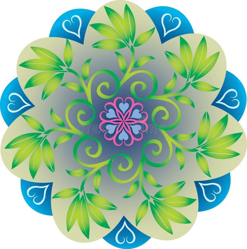 Enkel Mandala - lövverksidor naturliga gräsplan- och blåttfärger stock illustrationer