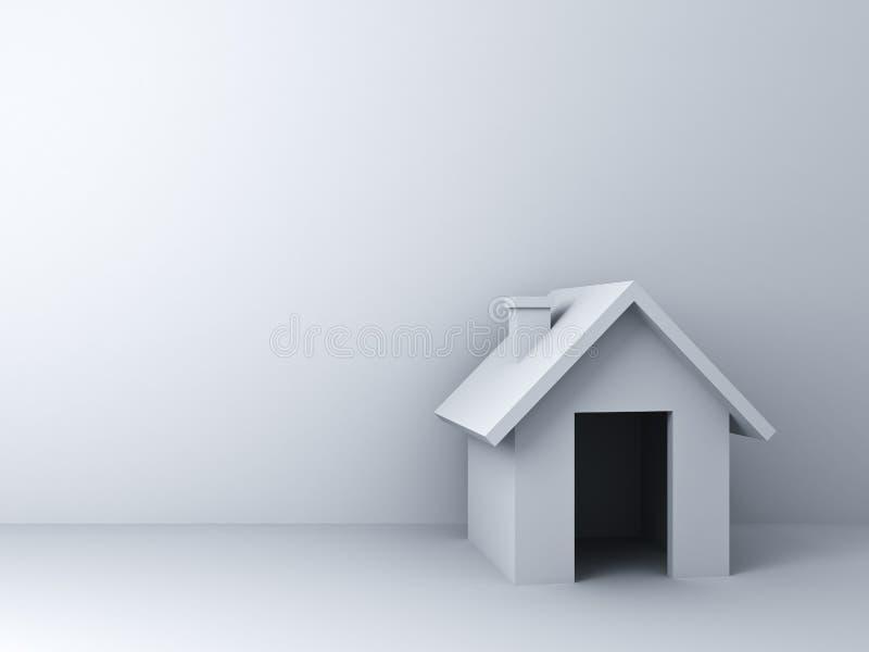 enkel modell för hus 3d över vit väggbakgrund med tomt utrymme vektor illustrationer