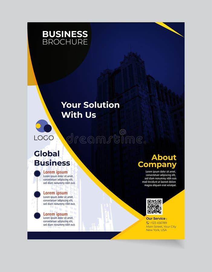 Enkel modern design för broschyraffärsmall och elegant_businessbroschyrmall 02 stock illustrationer
