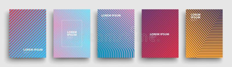 Enkel modern design för räkningsmall Uppsättning av minsta geometriska rastrerade lutningar för presentation, tidskrifter, reklam vektor illustrationer