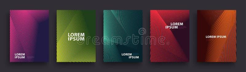 Enkel modern design för räkningsmall Uppsättning av minsta geometriska rastrerade lutningar för presentation, tidskrifter, reklam stock illustrationer