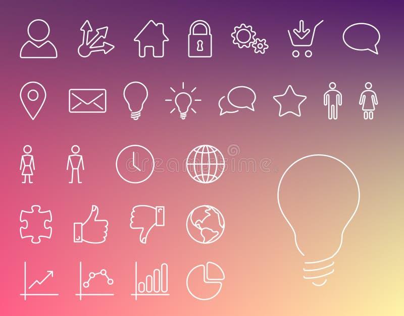 Enkel modern tunn symbolssamling vektor illustrationer