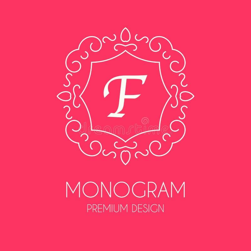 Enkel monogramdesignmall, elegant linje konstlogodesign stock illustrationer
