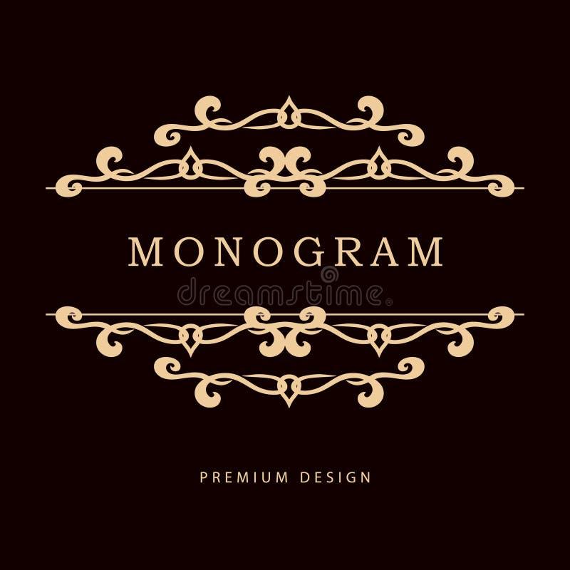 Enkel och behagfull blom- monogramdesignmall Elegant linje konstlogodesign också vektor för coreldrawillustration royaltyfri illustrationer