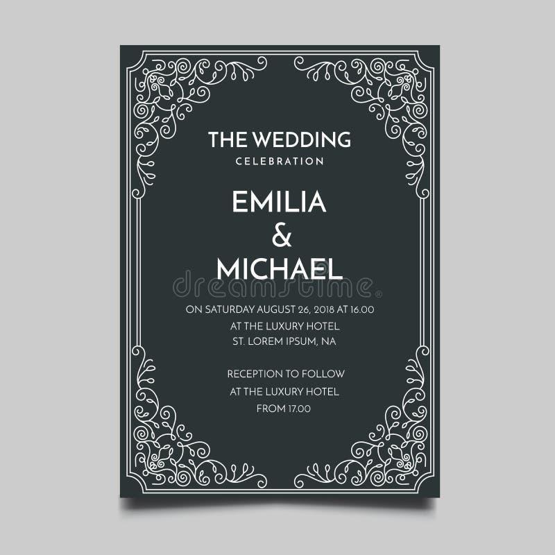 Enkel och elegant design f?r blom- gifta sig inbjudanmall royaltyfri illustrationer