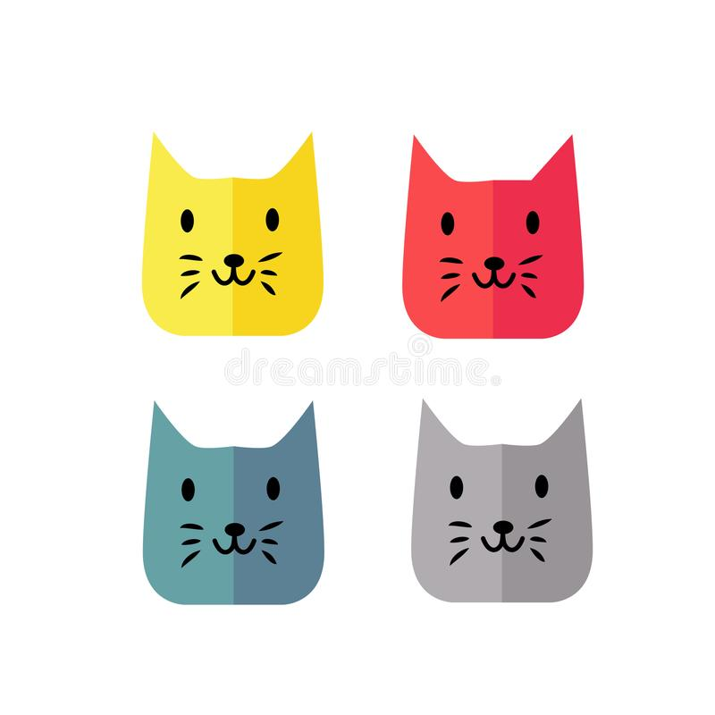 Enkel och modern rolig stil för kattframsidafärg vektor illustrationer