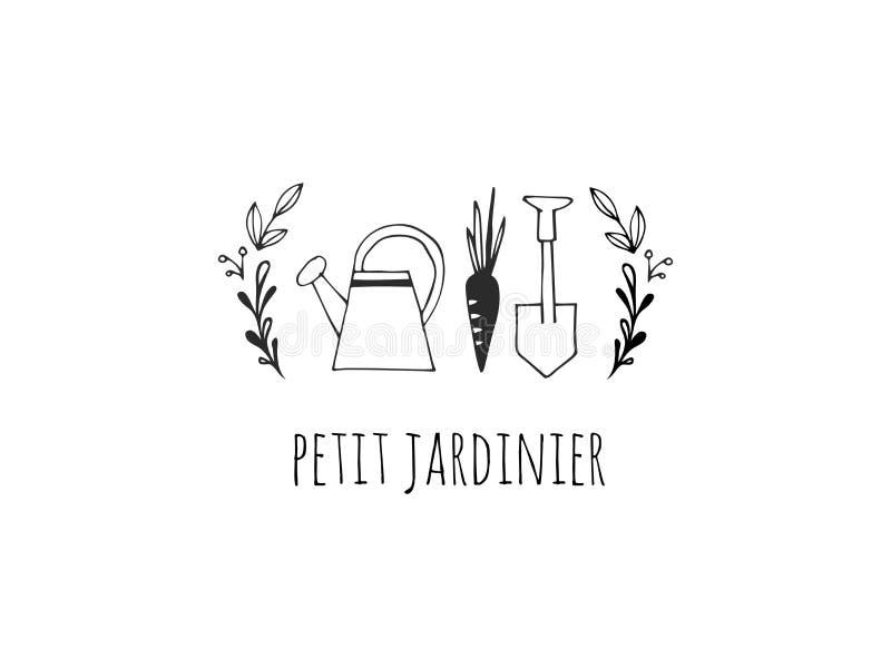 Enkel och stilfull modern logo och illustration som arbeta i trädgården drog beståndsdelen för vektor den hand vektor illustrationer