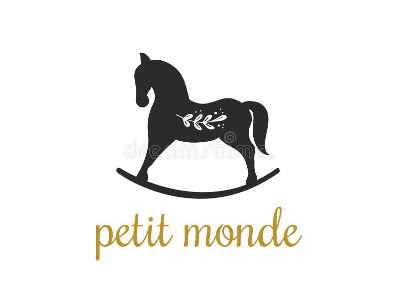Enkel och stilfull modern logo och illustration som vaggar drog beståndsdelen för hästvektor den hand stock illustrationer