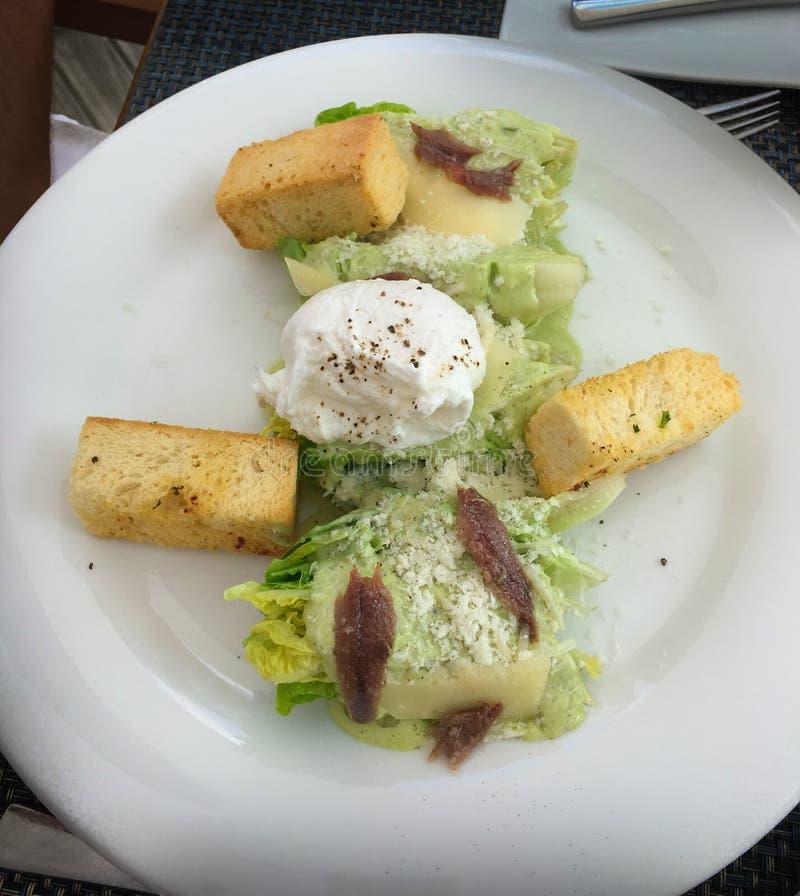 Enkel och sund Caesar sallad med krutonger, parmesan, mozzare royaltyfria bilder